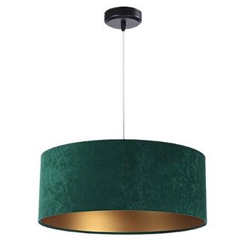 Welurowy abażur Olimpia - zielona lampa wisząca do salonu, sypialni (kolekcja - Standard, 1xE27) ręcznie robiona