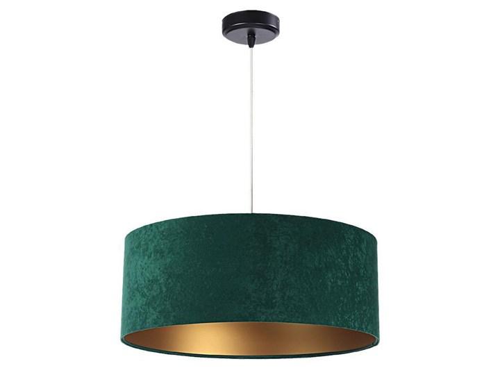 Welurowy abażur Olimpia - zielona lampa wisząca do salonu, sypialni (kolekcja - Standard, 1xE27) ręc ...