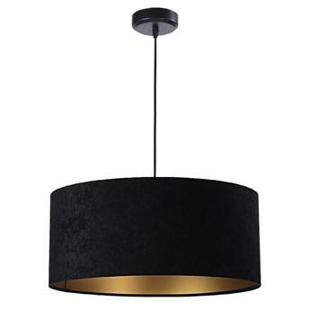 Welurowy abażur Gloria - czarna lampa wisząca do salonu, sypialni (kolekcja - Standard, 1xE27) ręcznie robiona