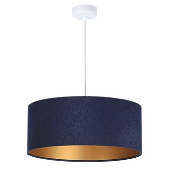 Welurowy abażur Lobelia - granatowa lampa wisząca do salonu, sypialni (kolekcja - Standard, 1xE27) ręcznie robiona