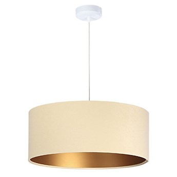 Welurowy abażur Verbena - kremowa lampa wisząca do salonu, sypialni (kolekcja - Standard, 1xE27) ręcznie robiona
