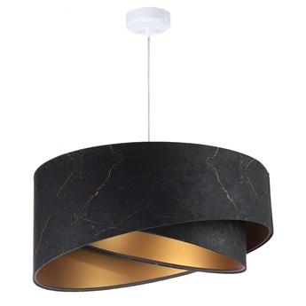 Abażur Marmur - czarna lampa wisząca welurowa do salonu, sypialni (asymetria 1xE27) ręcznie robiona
