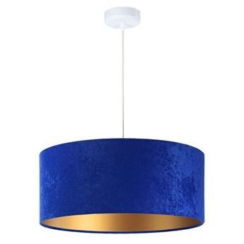 Welurowy abażur Alpana - niebieska lampa wisząca do salonu, sypialni (kolekcja - Standard, 1xE27) ręcznie robiona
