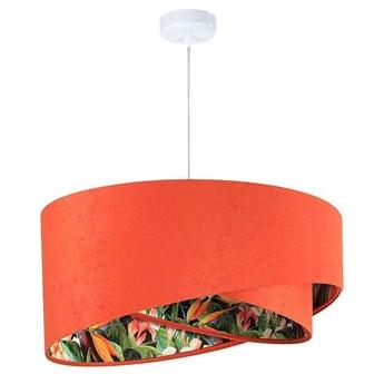 Abażur Ofelia - pomarańczowa lampa wisząca welurowa, do salonu, sypialni (asymetria 1xE27) ręcznie robiona