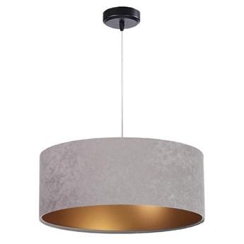 Welurowy abażur Kamelia - szara lampa wisząca do salonu, sypialni (kolekcja - Standard, 1xE27) ręcznie robiona