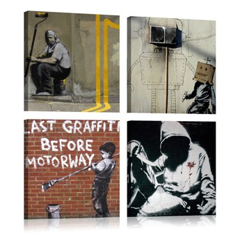SELSEY Obraz - Banksy - sztuka ulicy 80x80 cm