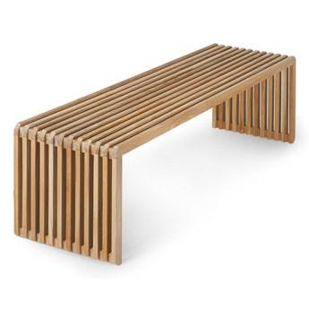 HKLiving- ławka z drewna tekowego z listwami naturalna