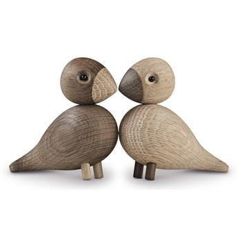 Zestaw 2 figurek z litego drewna dębowego Kay Bojesen Denmark Lovebirds