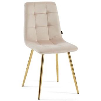 Krzesło welurowe DC-6401 beż nogi złote #5