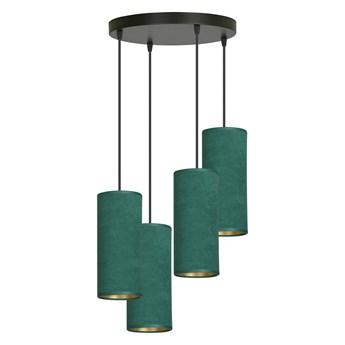 BENTE 4 BL PREMIUM GREEN lampa wisząca abażury WELUROWE regulowana złoty środek