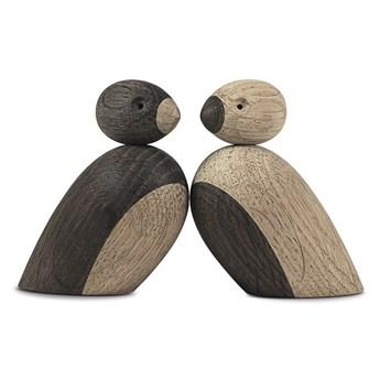 Zestaw 2 figurek z litego drewna dębowego Kay Bojesen Denmark Pair of Sparrows