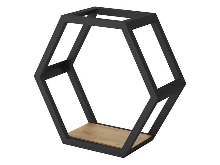SELSEY Półka Liwo w kształcie sześciokąta 40x43 cm Stal Drewno Płyta meblowa Płyta MDF Metal Beton Pomieszczenie półki do salonu
