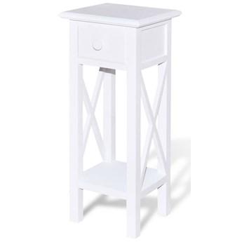 Biały stolik boczny z szufladą - Kroton