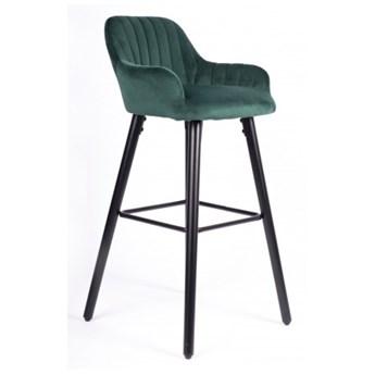Hoker Krzesło Barowe H93 BIS Zielony Welur Loft
