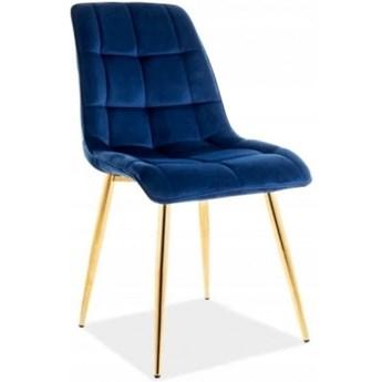 Krzesło Tapicerowane CHIC GOLD Granat Welur Salon