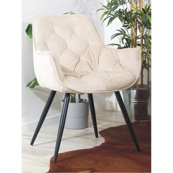 Eleganckie krzesło do jadalni w stylu glamour z weluru AURORA II beżowe na czarnych nogach