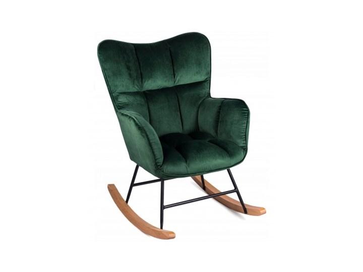 Fotel Uszak ROSSI Zielony Bujany na Biegunach Fotel bujany Pomieszczenie Salon Drewno Tkanina Styl Klasyczny