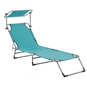 Leżak ogrodowy z daszkiem turkusowy FOLIGNO kod: 4251682267250