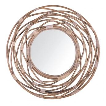 Rattanowe okrągłe lustro ścienne ø 75 cm brązowe BURGIS kod: 4251682230360