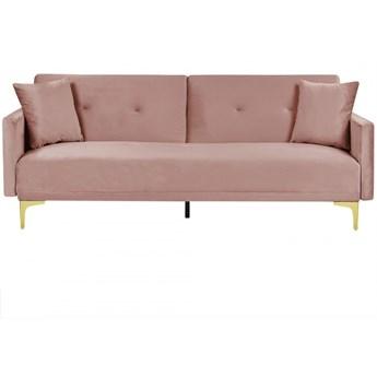 Sofa rozkładana welurowa różowa LUCAN kod: 4251682267403