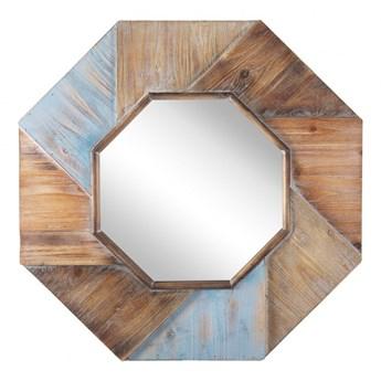Drewniane ośmiokątne lustro ścienne 77 x 77 cm ciemne MIRIO kod: 4251682260657
