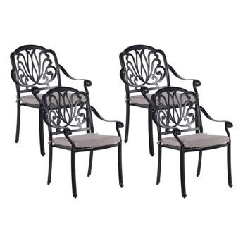 Zestaw 4 krzeseł ogrodowych czarny ANCONA kod: 4251682266543