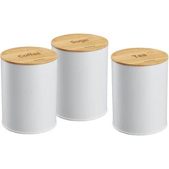 Komplet 3 pojemników Klausberg KB 7491 do herbaty kawy cukru białe