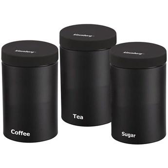 Komplet 3 pojemników Klausberg KB 7256 do herbaty kawy cukru czarne