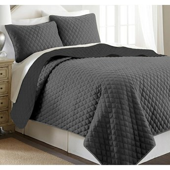 Narzuta na łóżko pikowana 160x200 cm PIRUU dwustronna szary/czarny