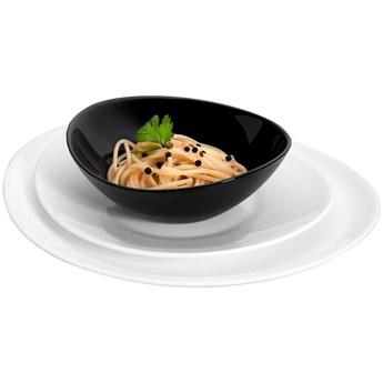 Serwis obiadowy Bormioli Orion 18 elementów czarne białe talerze dla 6 osób | Kup teraz®