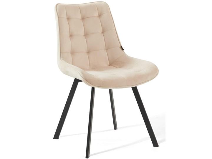 Krzesło tapicerowane beżowe DC-6030 welur #5 Pikowane Metal Tkanina Tworzywo sztuczne Styl Klasyczny