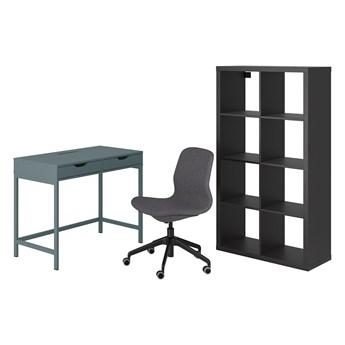 IKEA ALEX/LÅNGFJÄLL / KALLAX Kombinacja biurko/szafka, i krzesło obrotowe szaroturkusowy/czarny