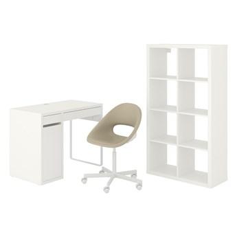 IKEA MICKE/ELDBERGET / KALLAX Kombinacja biurko/szafka, i krzesło obrotowe biały/beżowy