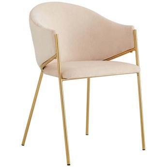 Krzesło Glamour beżowe DC-890  welur, złote nogi
