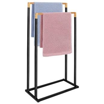 Stojak łazienkowy na ręczniki 2-ramienny czarny, bambus