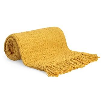 VAFFEL Pled bawełniany musztardowy 130x170 cm - Homla