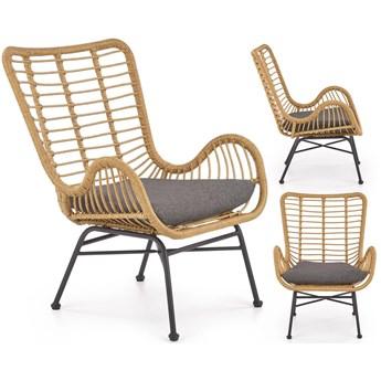 IKARO ogrodowy fotel wypoczynkowy z rattanu popielaty Halmar
