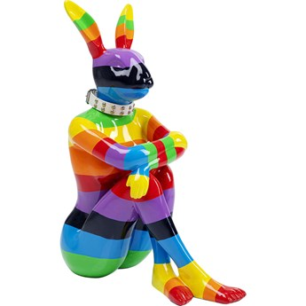 Dekoracja stojąca Sitting Rabbit Rainbow 60x80 cm kolorowa