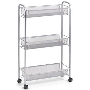 Wielofunkcyjny mobilny organizer do kuchni lub łazienki, 3 siatkowe półki, 4 kółka, materiał metal, marki ZELLER