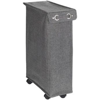 Kosz na pranie z pokrywą i kółkami, wąski pojemnik tekstylny - 43 l, 60 x 18,5 x 40 cm, WENKO