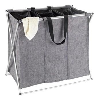 Kosz tekstylny na pranie TRIO ze stalową ramą, składany pojemnik trójdzielny na bieliznę - 130 l, 59 x 57 x 38 cm, WENKO