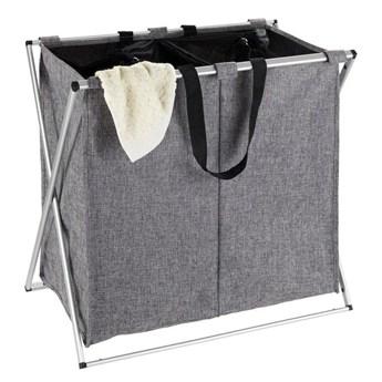 Kosz materiałowy na pranie DUO z 2 przegrodami, składany pojemnik z aluminiowym stelażem - 2 x 60 l, 57 x 59 x 38 cm, WENKO