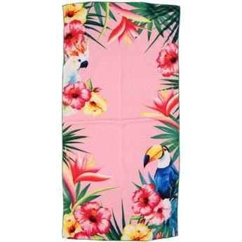 Ręcznik plażowy Tukan z kwiatowym wzorem, 75 x 150 cm