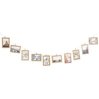 Ramki na zdjęcia 10x15cm, sznur z klamerkami