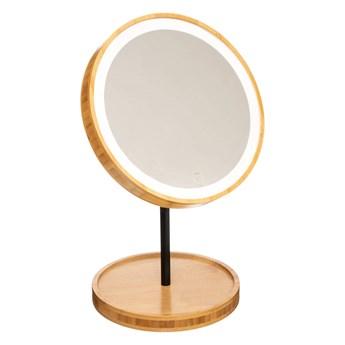 Lusterko kosmetyczne LED, okrągłe, bambus