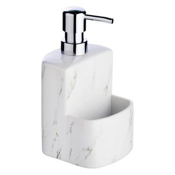 Dozownik do mydła w płynie FESTIVAL z pojemnikiem na gąbkę, ceramika o strukturze marmuru, 380 ml, WENKO
