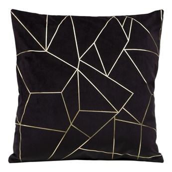 Poszewka na poduszkę ALMES 45x45 ze złotym nadrukiem geometrycznym kolor czarny
