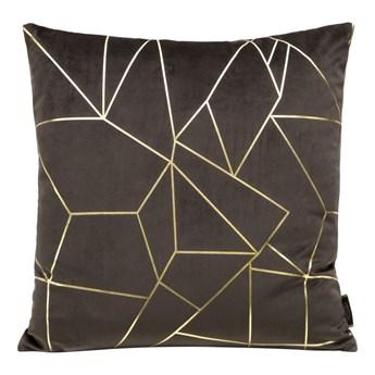Poszewka na poduszkę ALMES 45x45 ze złotym nadrukiem geometrycznym kolor brązowy