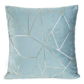 Poszewka na poduszkę ALMES 45x45 ze złotym nadrukiem geometrycznym kolor niebieski