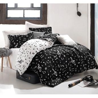 SELSEY Komplet pościeli Melody 200x220 cm z dwiema poszewkami na poduszki 50x70 cm i prześcieradłem czarno-biały